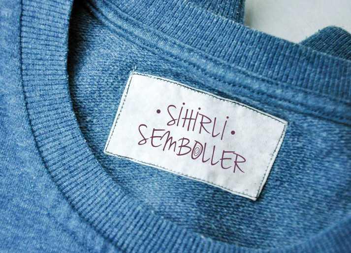 Sihirli Semboller T-shirt Etiket Tasarımı